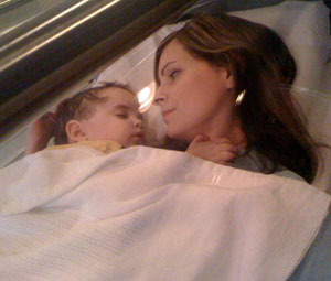Joanna McGowan with her son, Christopher, in hyperbaric oxygen chamber
