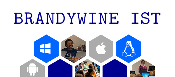 Brandywine ITS Banner, photos of students, Windows, Apple, Android, Linux logos