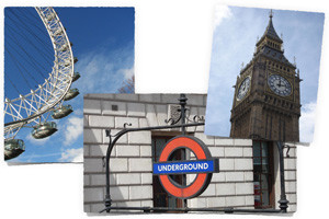 Big Ben, Underground Sign, Ferris Wheel
