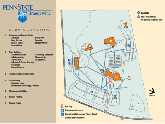 A map of the Brandywine campus listing buildings