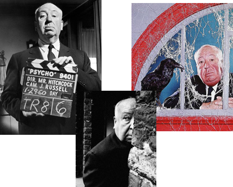 collage of Alfred Hitchcock photos