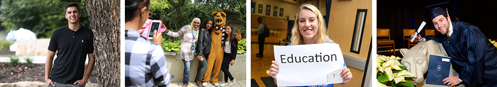 images of Penn State students at commencement, by the lion, and on campus