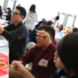 At the event, some students taught everyone how to use chopsticks.