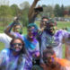 Students tossed colored powder on each other