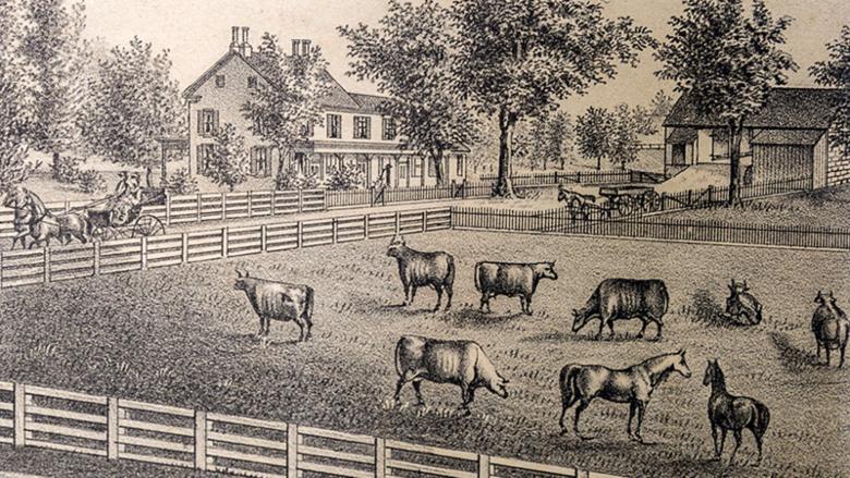 The Pratt farm circa 1875