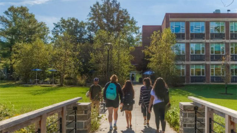 Students walking toward the Main Building