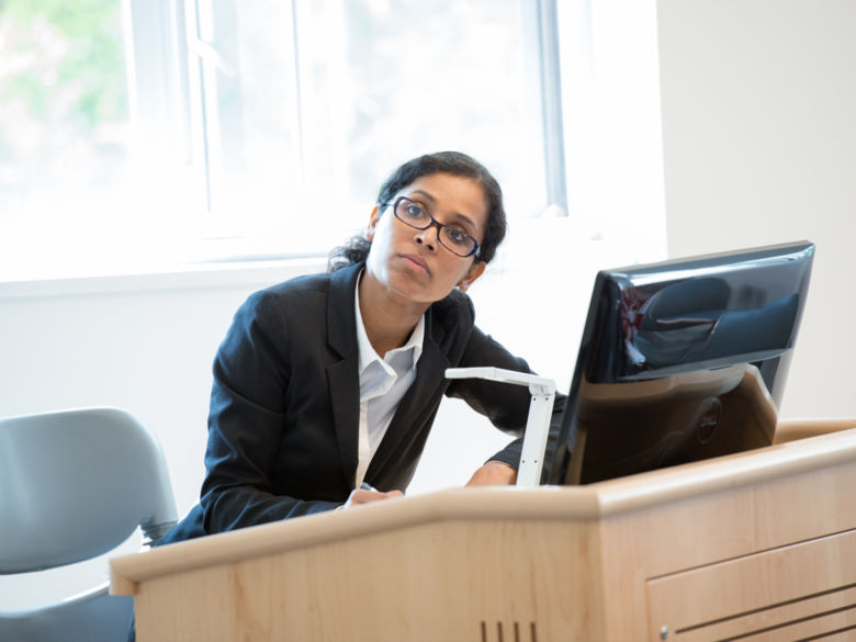 female adult student at computer