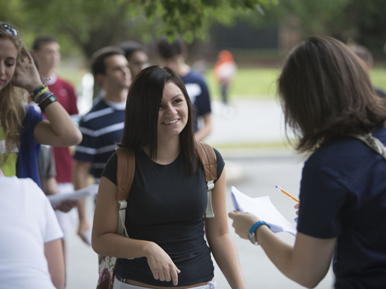 Student visiting campus