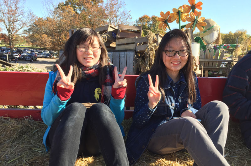 2 students on hayride
