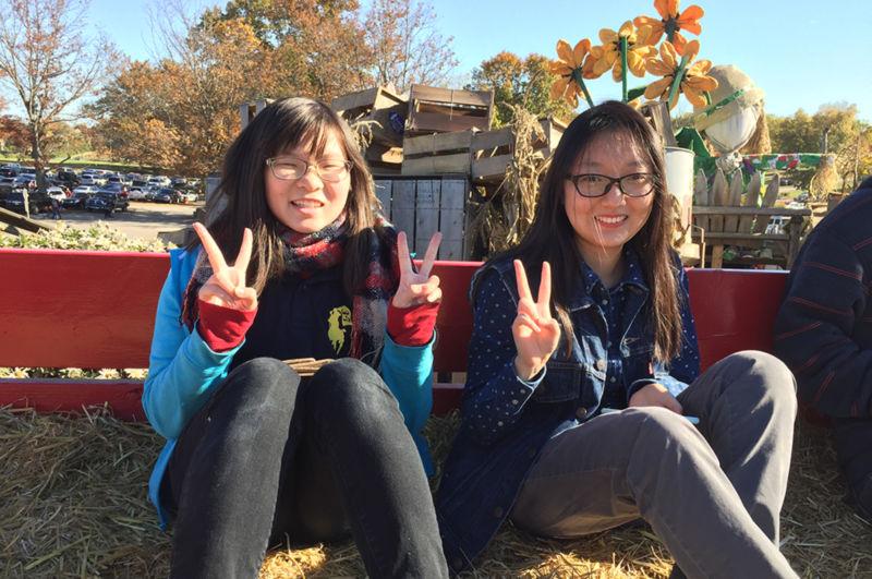 2 students on hayride