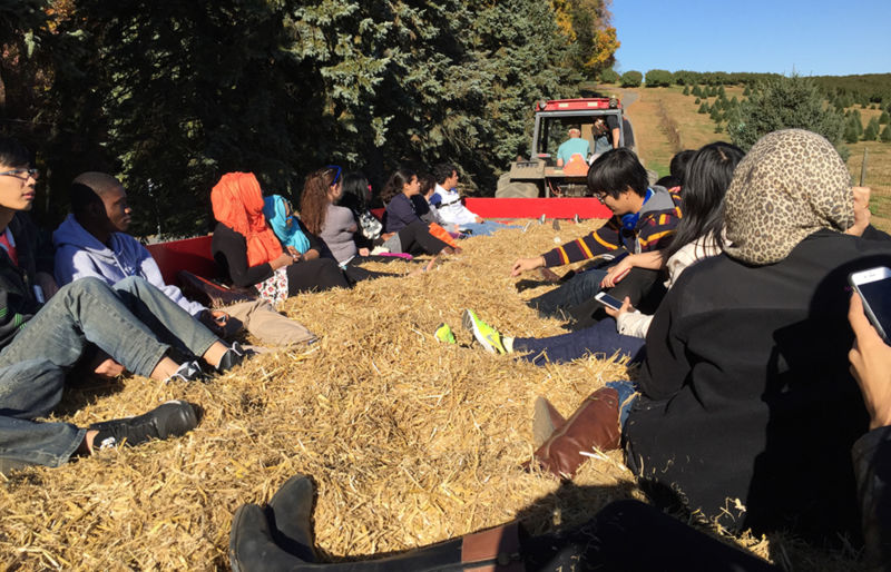 students on hayride