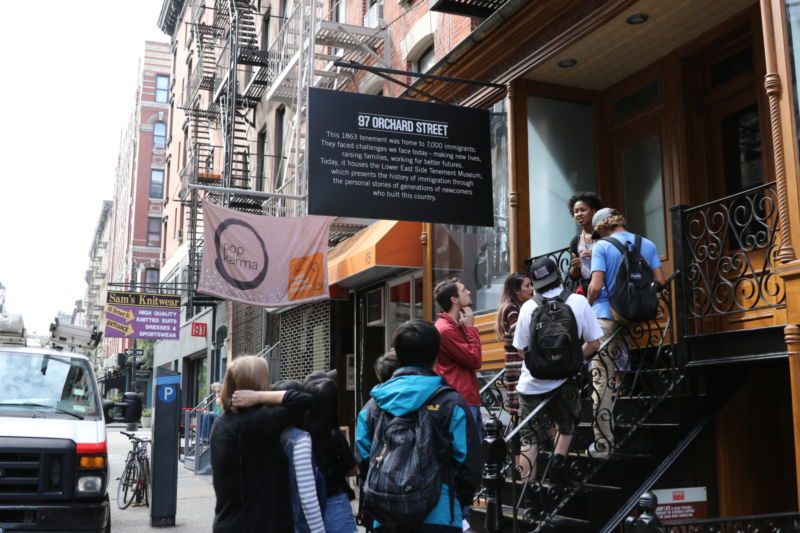 Studetns touring the Tenement Museum