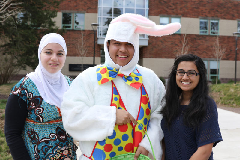 In March, the Easter Bunny arrived for egg decorating on campus.