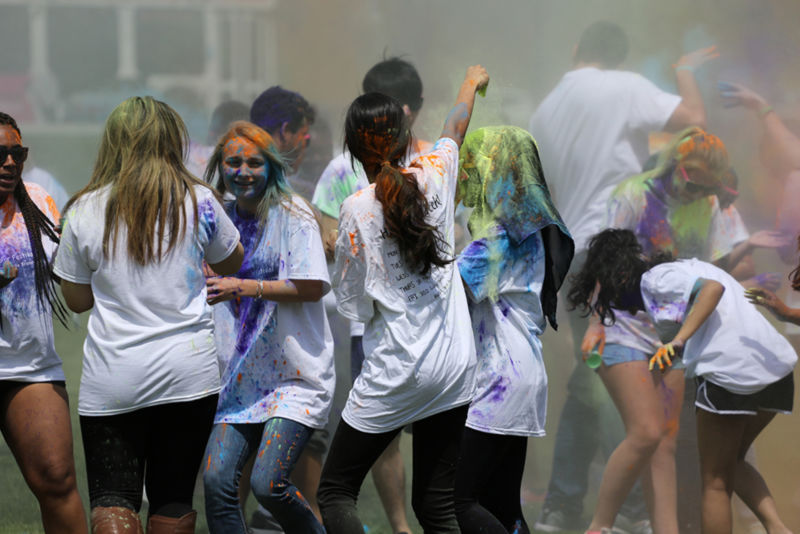 During the last week of class, the campus celebrated Holi, the Festival of Colors