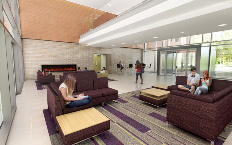 rendering of the lobby in Orchard Hall