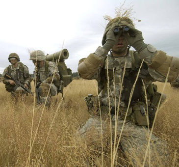 ROTC in a field with binoculars