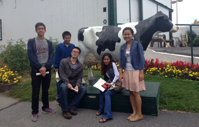 students with cow