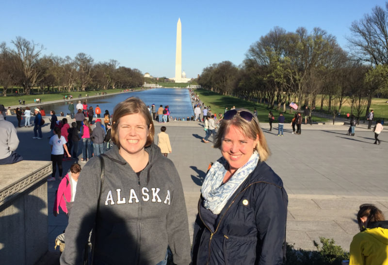 Mrs. Ousey and Mrs. Brown in front of the Washington monument on our D.C. trip.