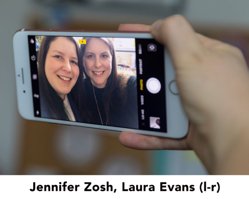 Jennifer Zosh and Laura Evans in a selfie on a phone