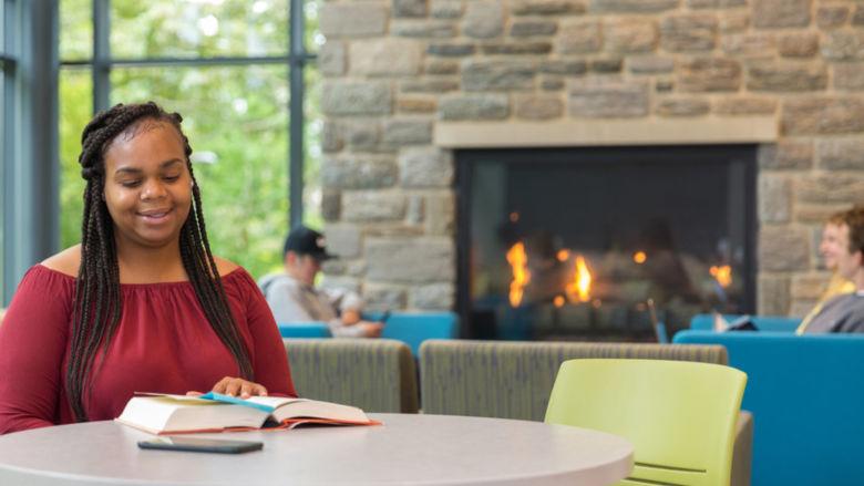 Rachel Brokenborough studies in Penn State Brandywine's Student Union